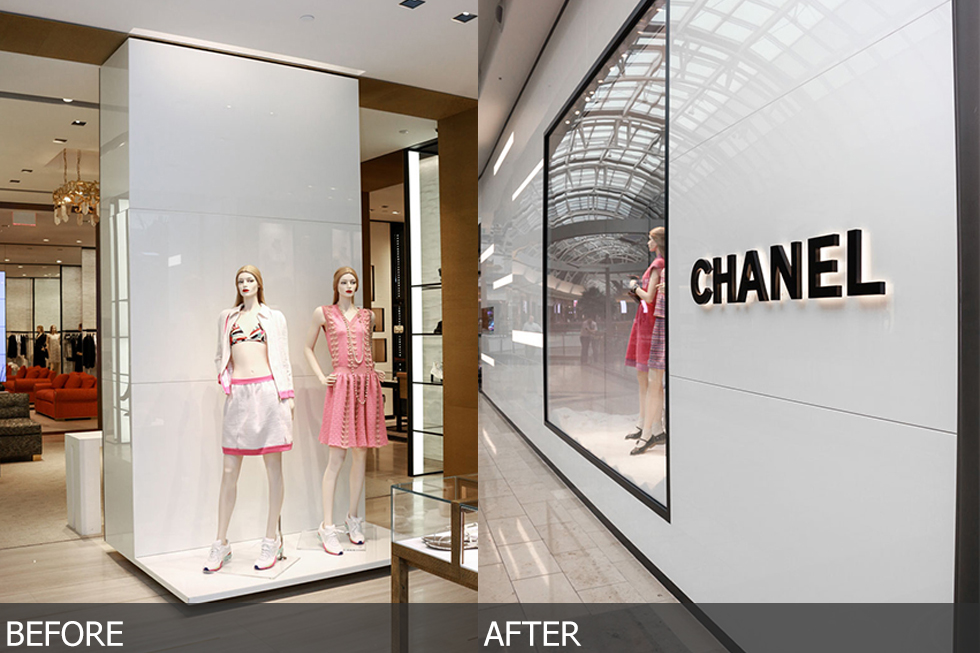 custom quartz walls at chanel store at mall of millenia in orlando florida