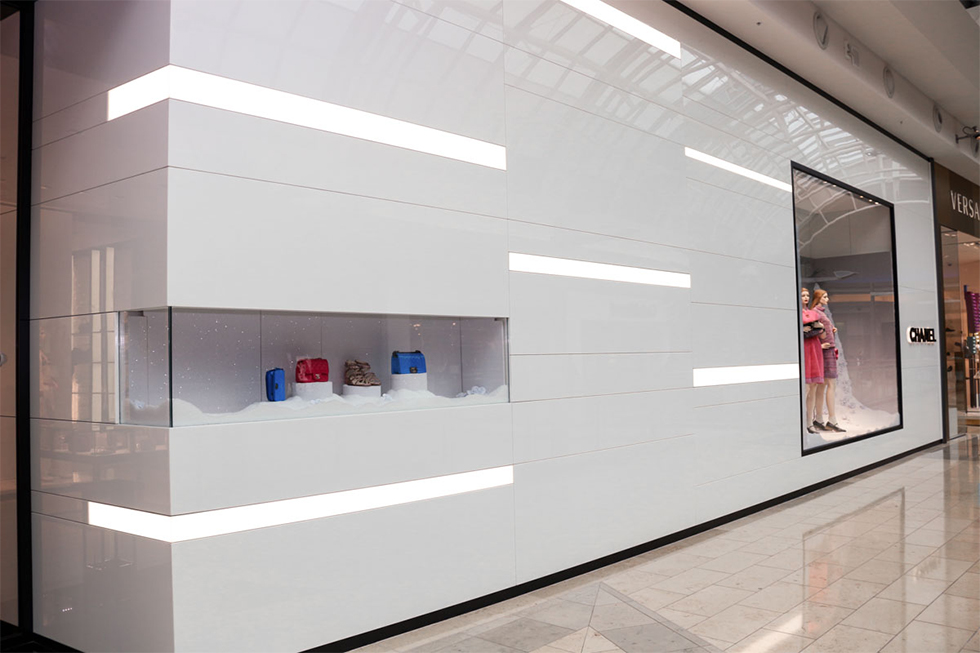 white quartz walls at chanel store at millenia mall in orlando florida