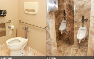 commercial bathroom granite walls and floors