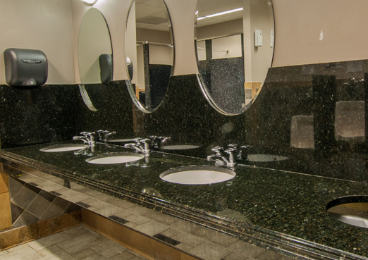 commercial gray bathroom granite vanity with 3 sinks