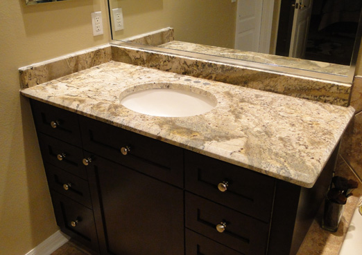 custom single sink bathroom granite vanity