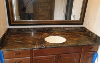 brown custom bathroom granite vanity