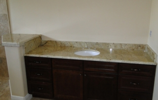 custom white and black granite single bathroom vanity
