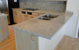 custom kitchen granite countertops with bar