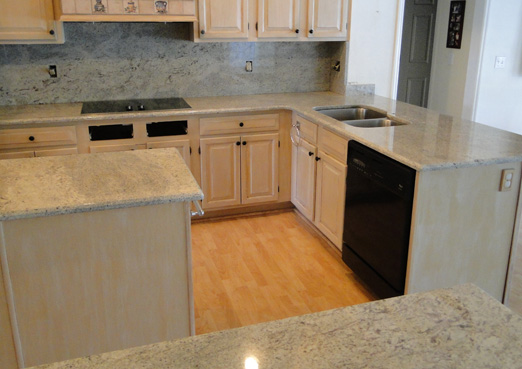 custom kitchen countertops with matching island