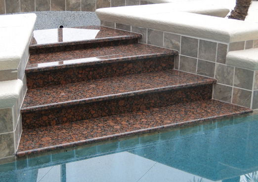 custom granite pool steps