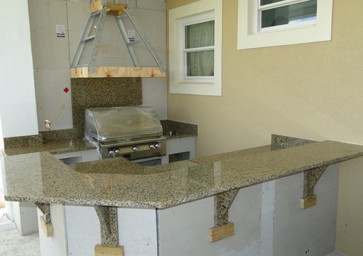 custom granite countertop bar for outdoor kitchen