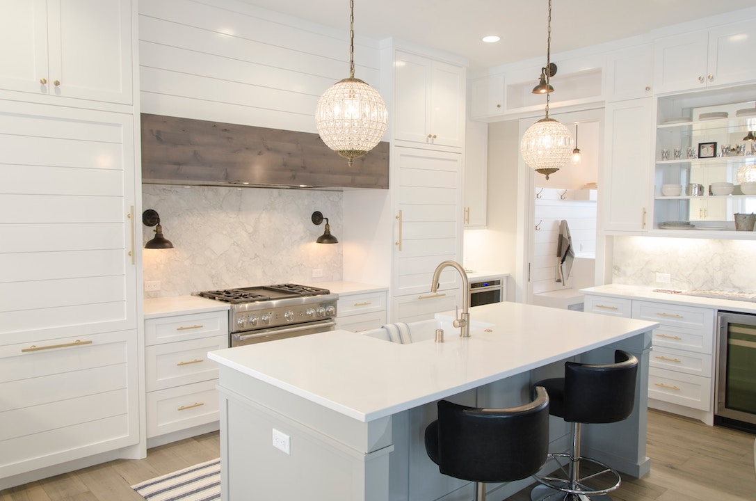 white quartz countertop custom white kitchen modern