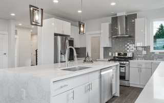 Waterfall countertop in modern kitchen featured image